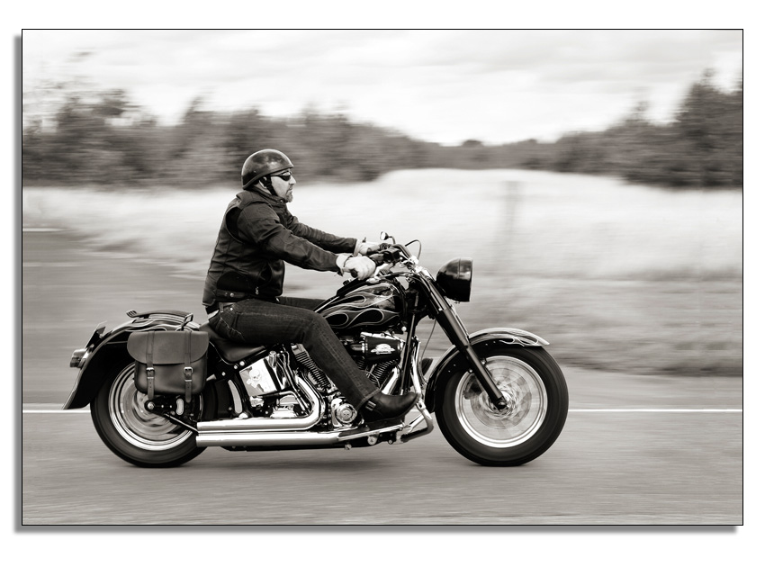 Motorcyclist on his Harley Davidson