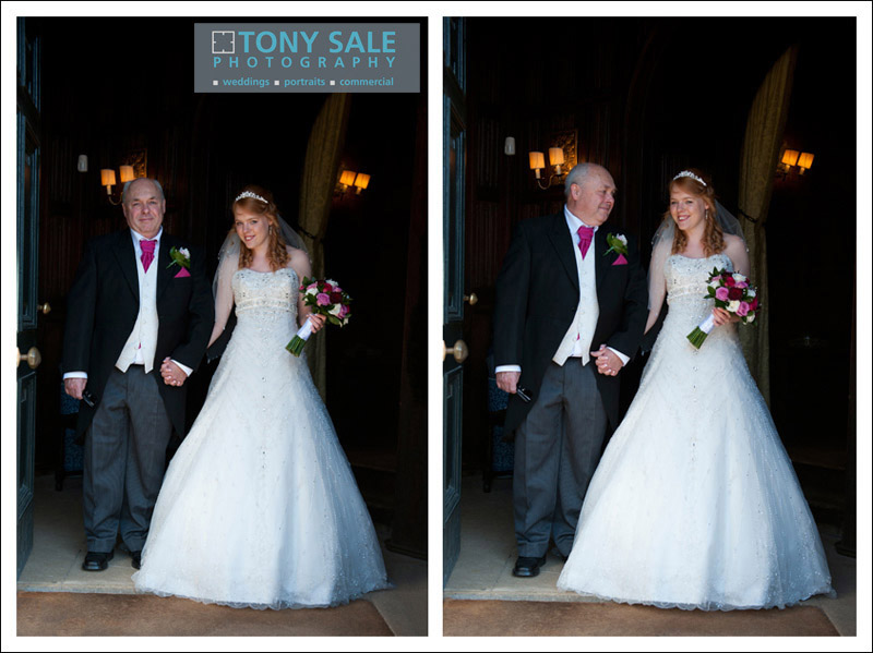 Bride with her proud father at Hedingham