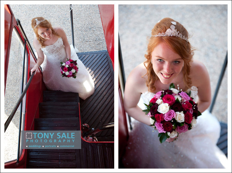 Gorgeous bride getting on the bus