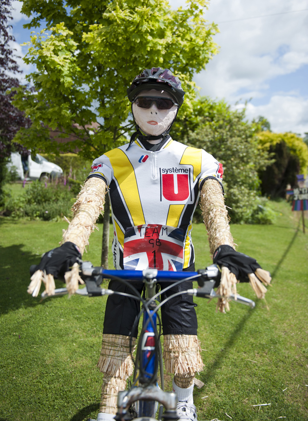Olympic cyclist scarecrow
