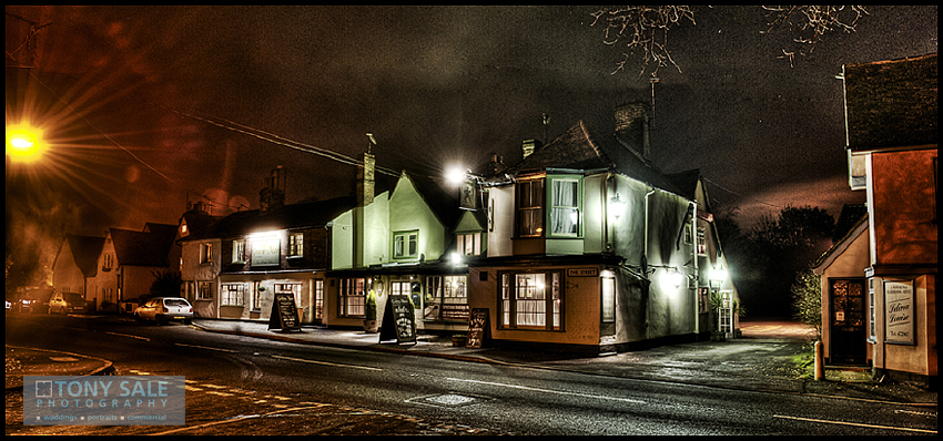 an HDR low light shot of the Gosfield pub The Green Man