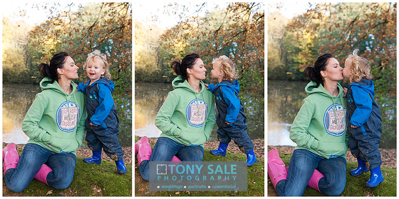 Triptych of mum playing with her young son