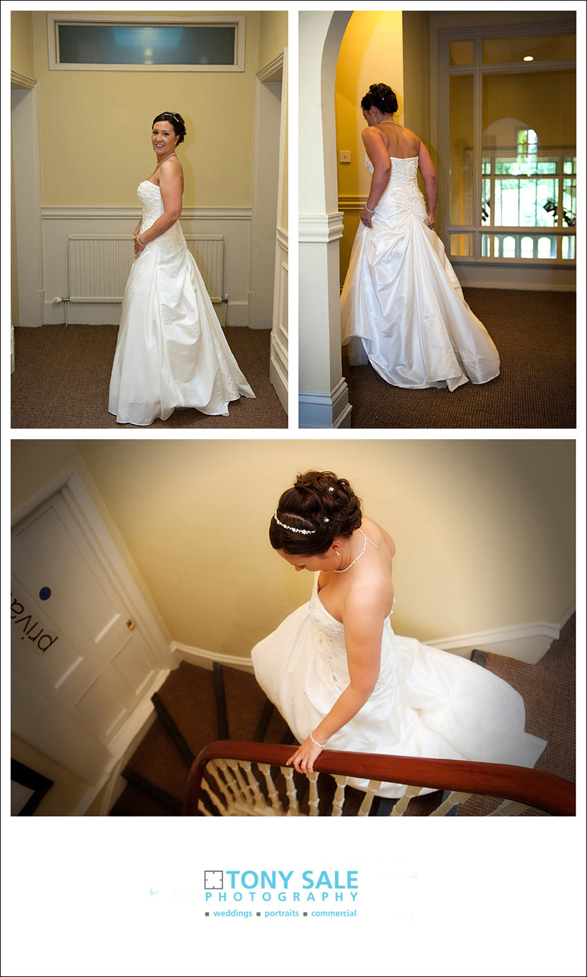 Bride descends the stairs at Milsons
