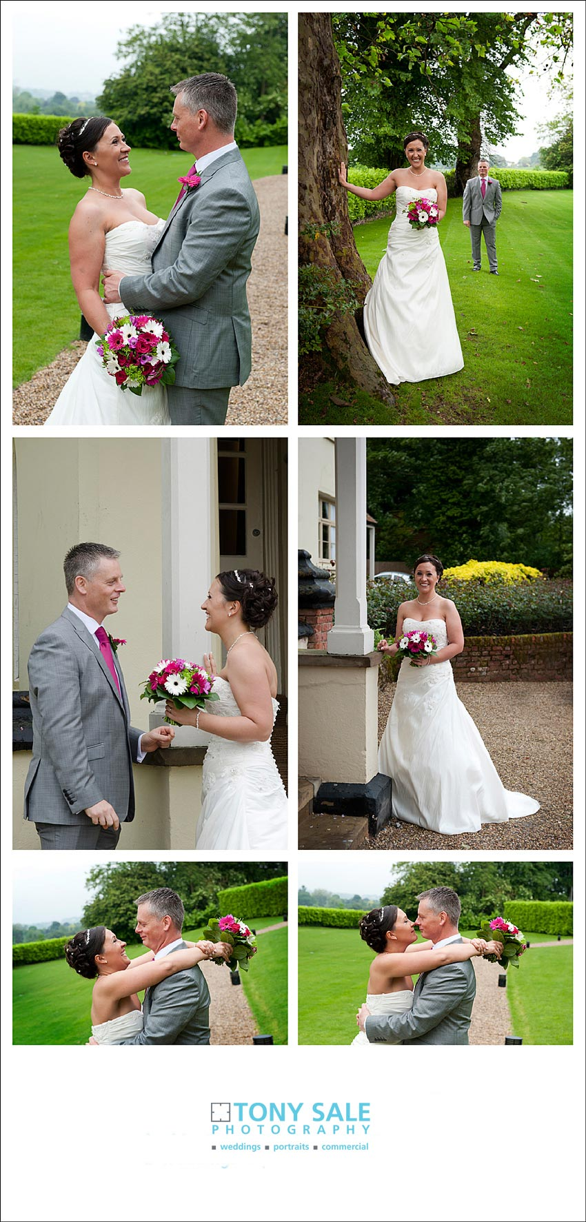 Bride and groom enjoy time in the garden at Maison Talbooth