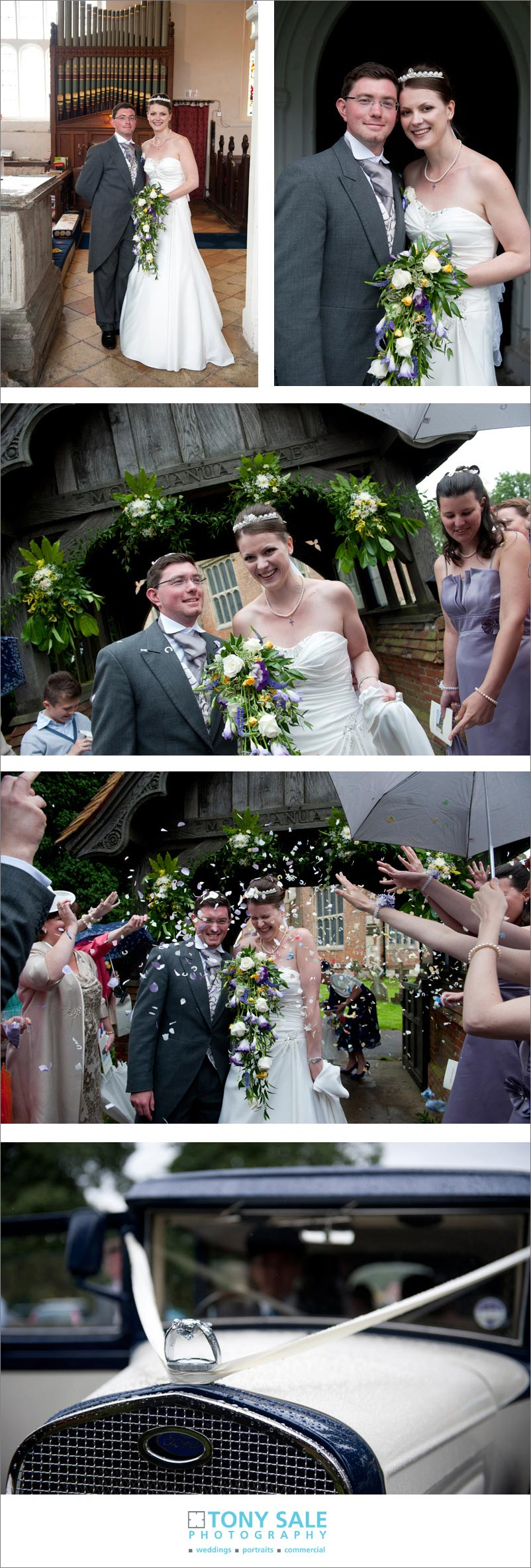 Bride and groom showered in confetti at Gosfield church