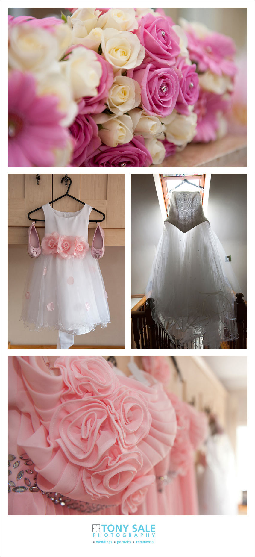 The brides dress and flowers