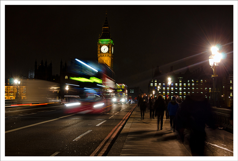 London bus and Big Ben at night