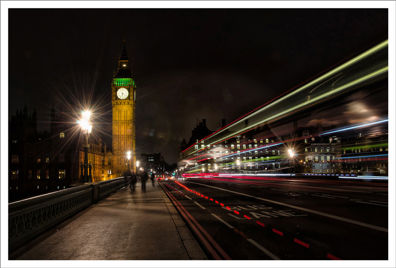 Big Ben and light streaks from London Buses