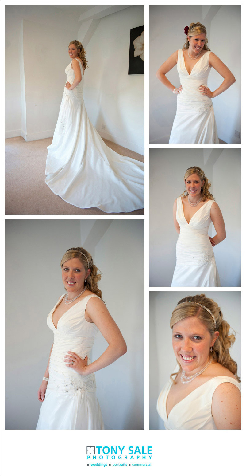 Gorgeous bride shows her beautiful dress