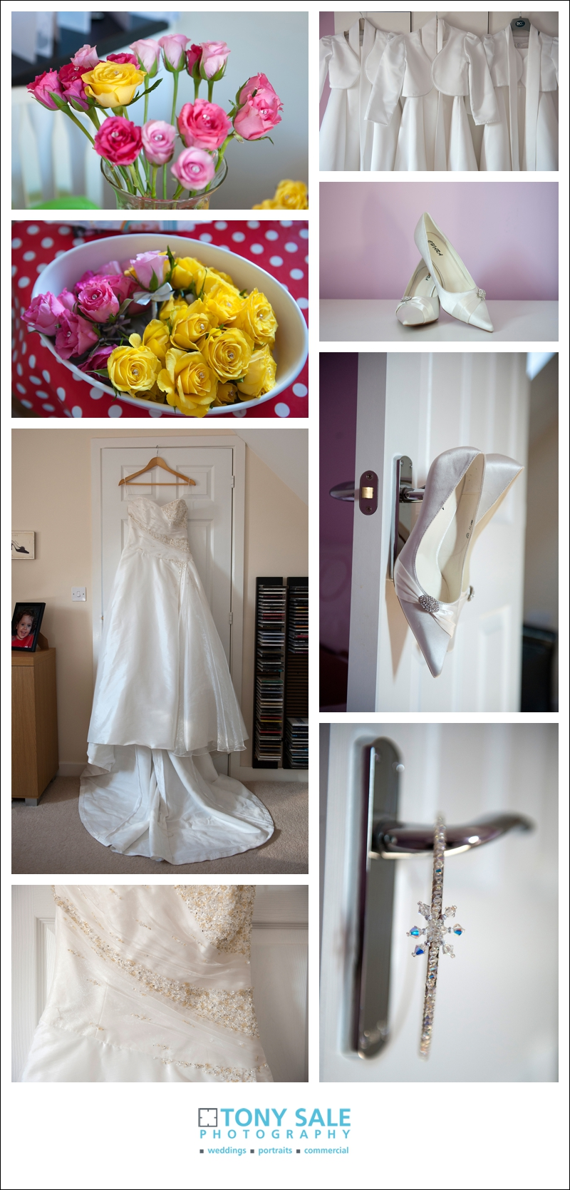 The wedding dress flowers and shoes