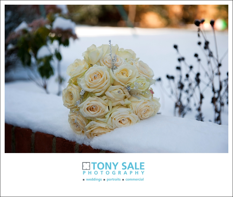 Beautiful wedding flowers in the snow