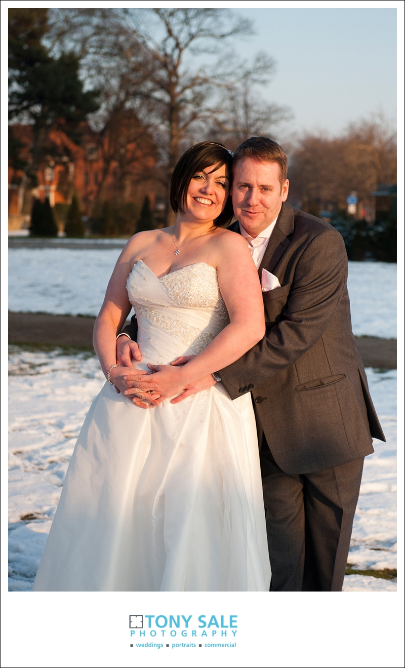 Bride and groom bathed in beautiful winter sun