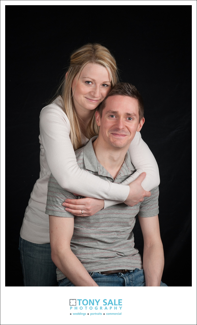 Couple pose in the studio