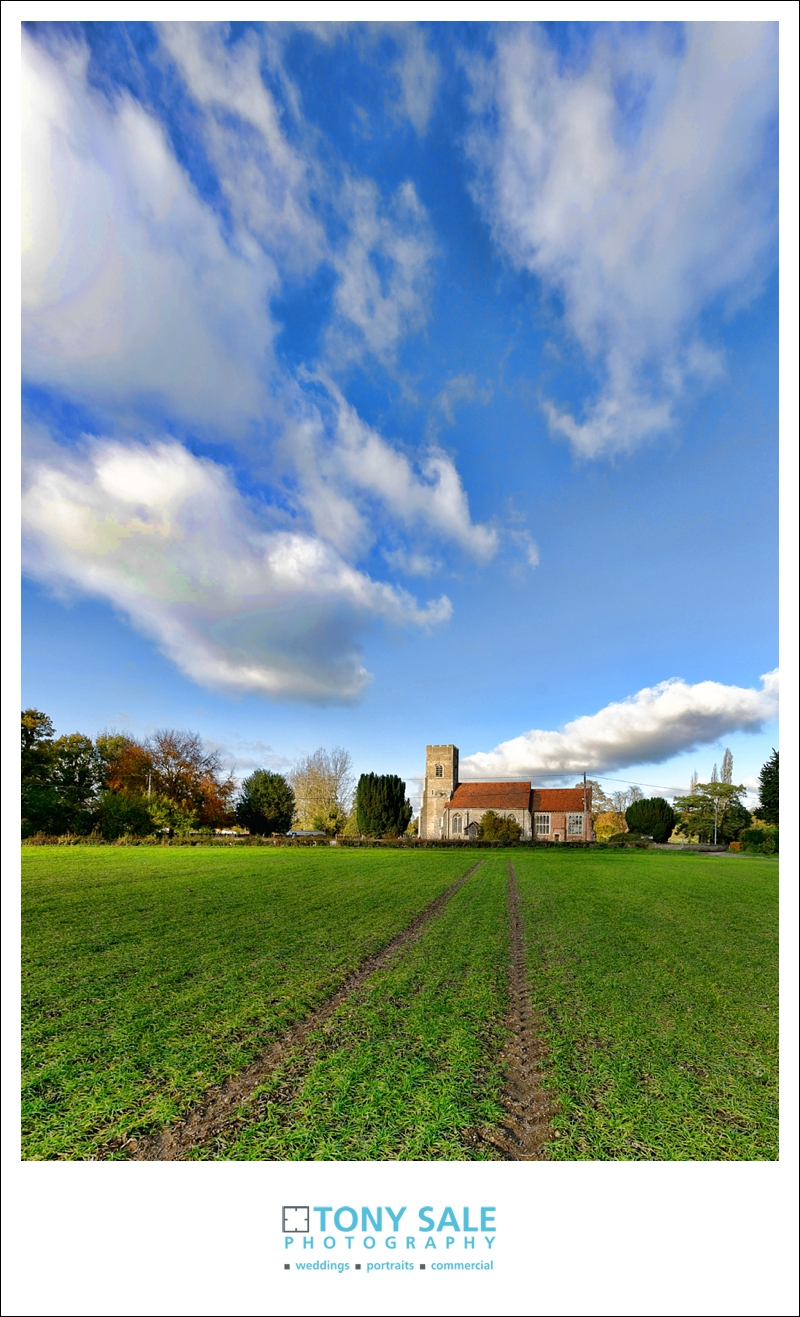 St Catherine's Church Gosfield from across the fields