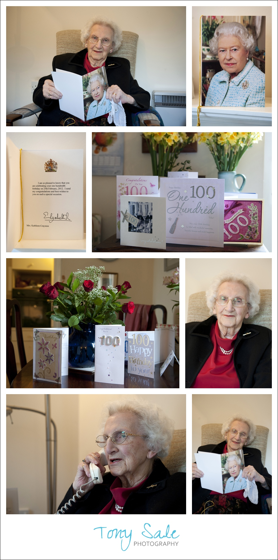 100 year old Kitty reads her message from the Queen