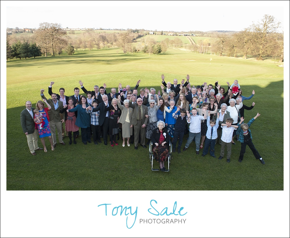 Large group photograph on the course at the Colne Valley Golf Club