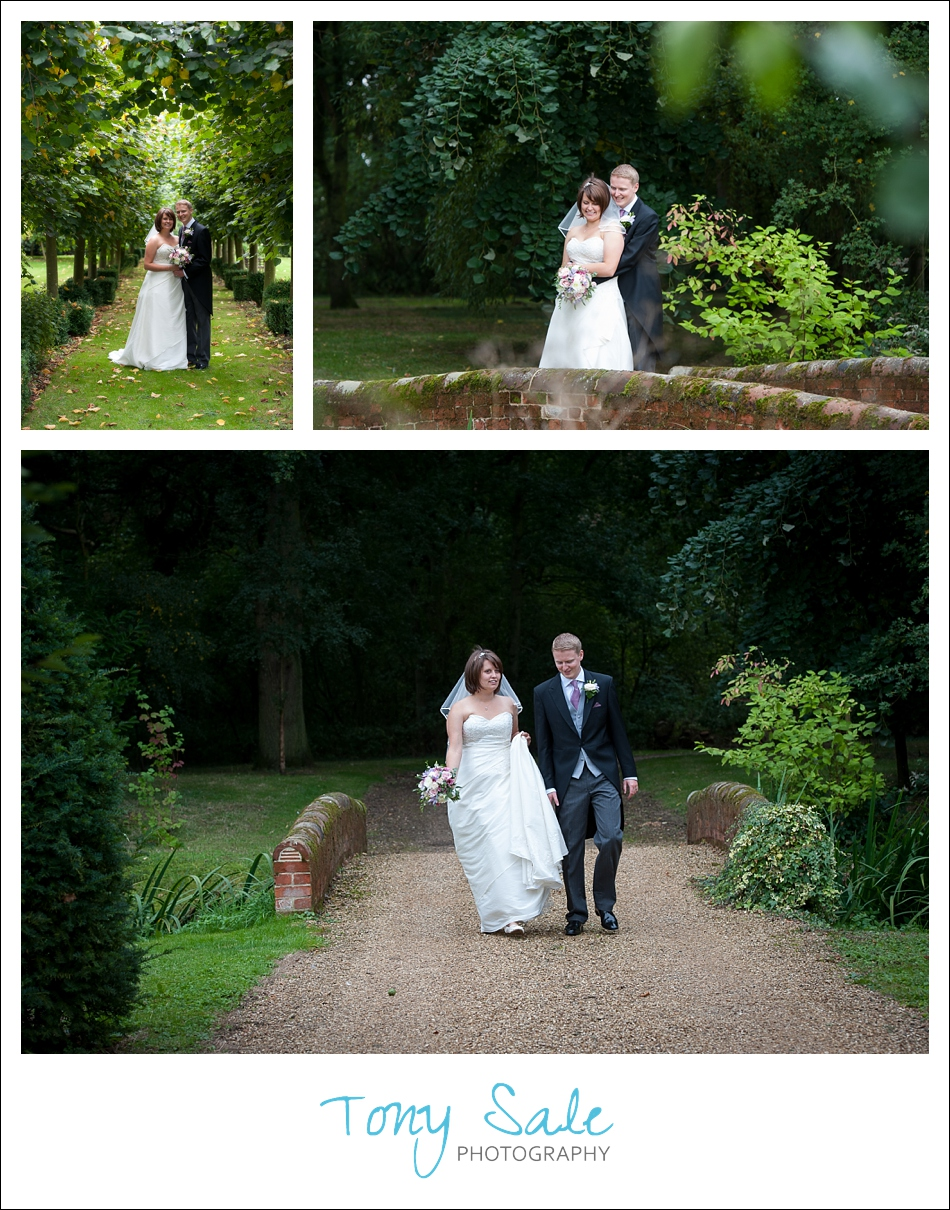 Bride and groom in the grounds of Dove Barn