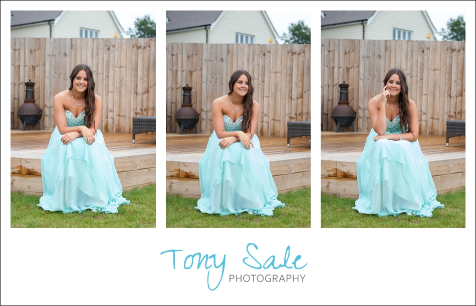 Three poses of girl in a prom dress