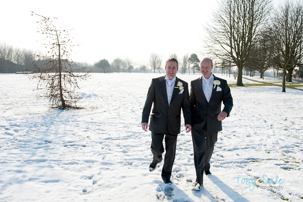 Groom and best man take a little walk and some fresh air.