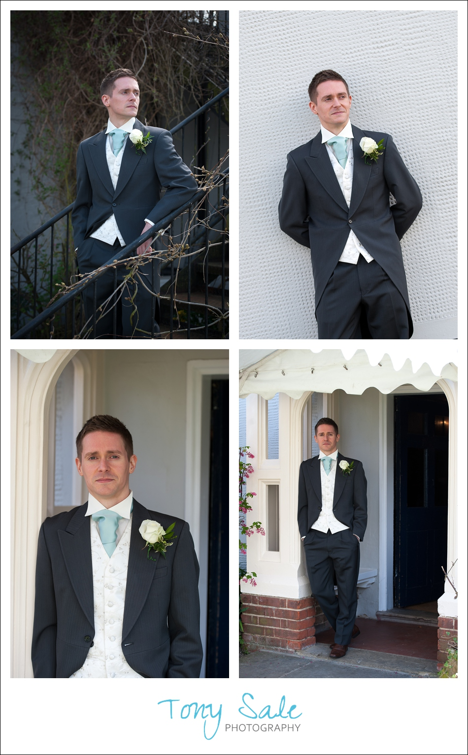 Taking photographs of the groom around the premises