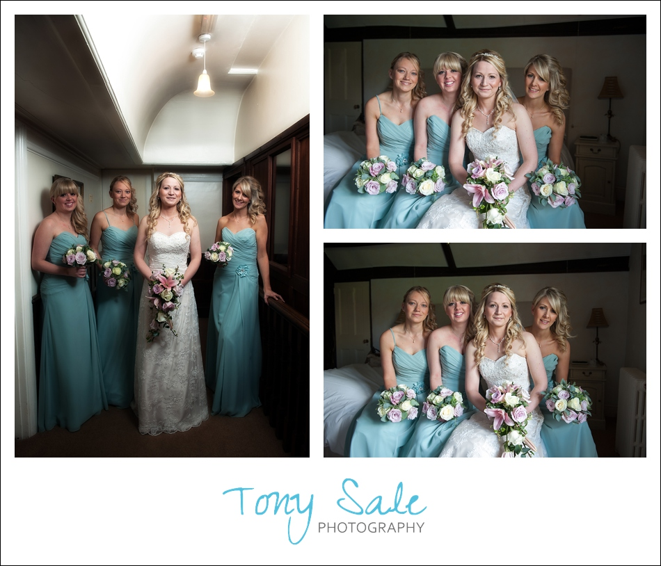 Bride and bridesmaids all looking very beautiful