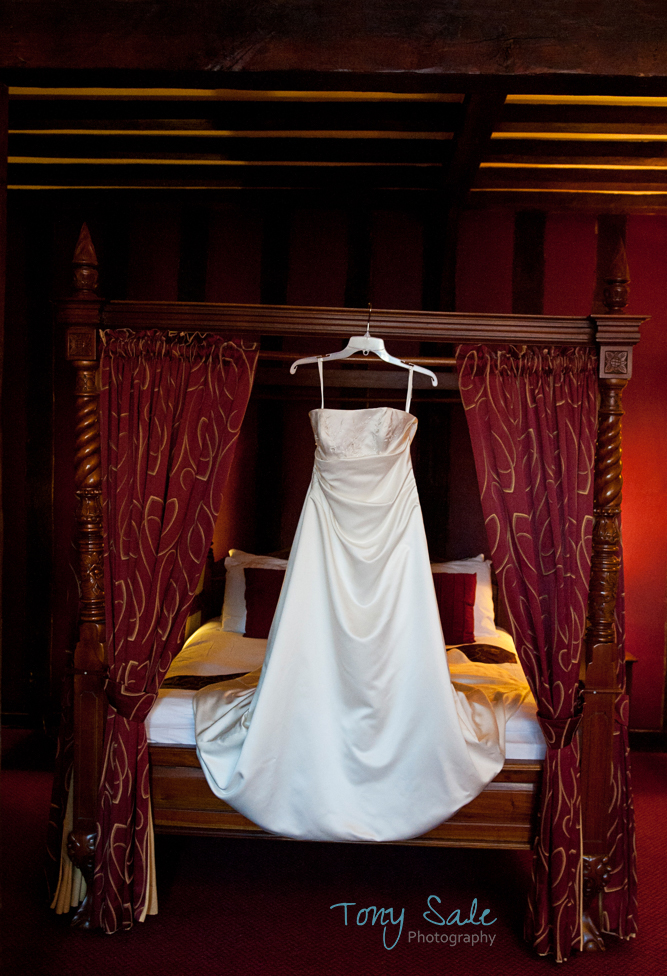 Wedding Dress in the bridal suite