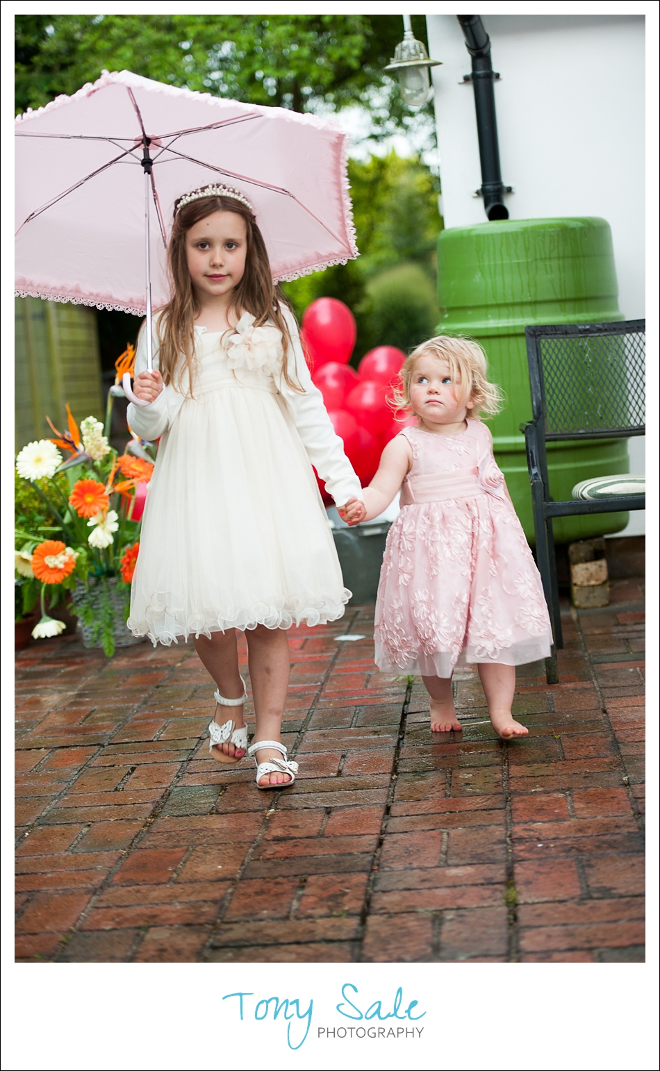 Two little girls at  an Ongar Wedding