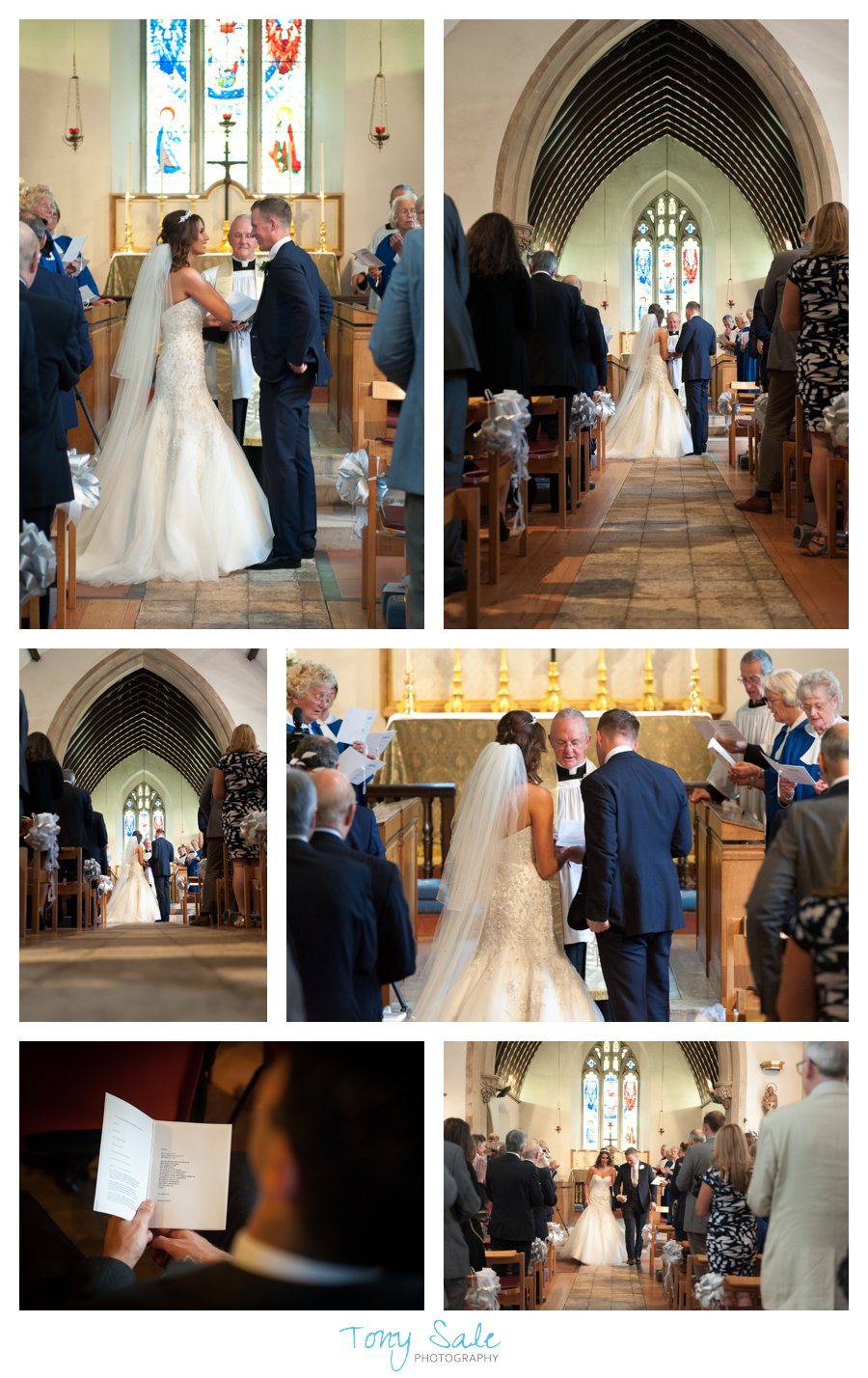 Bride and groom blessed by the vicar at All Saints