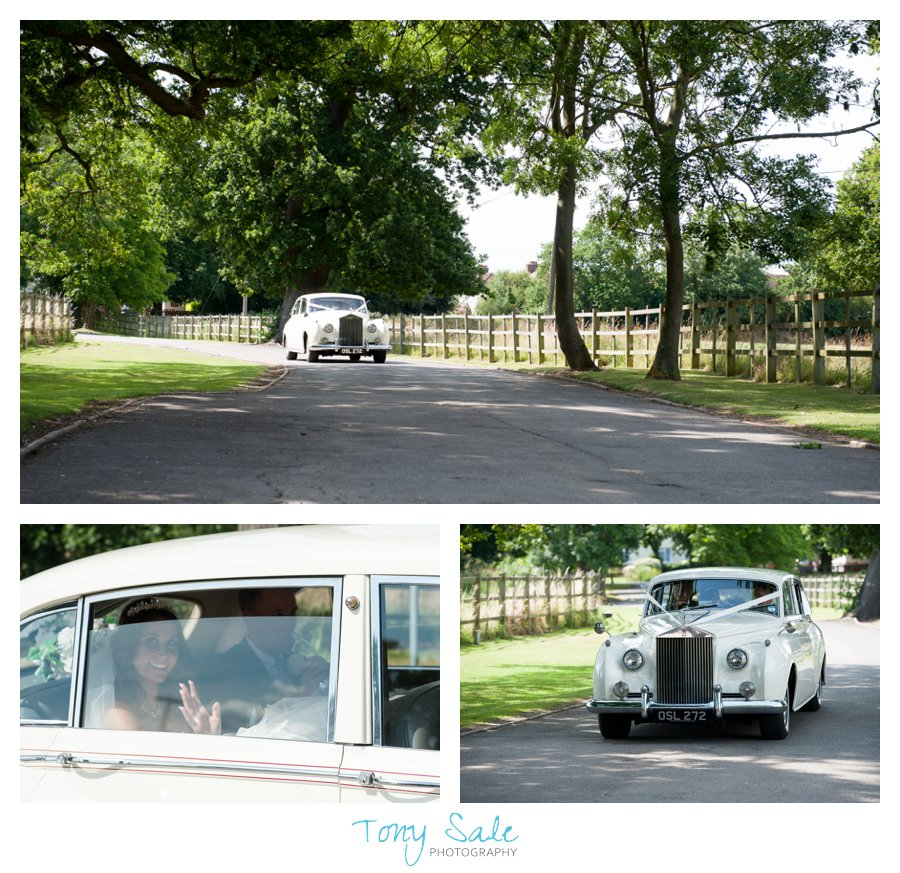Bride and groom arrive at Pontlands Park in a  Rolls Royce