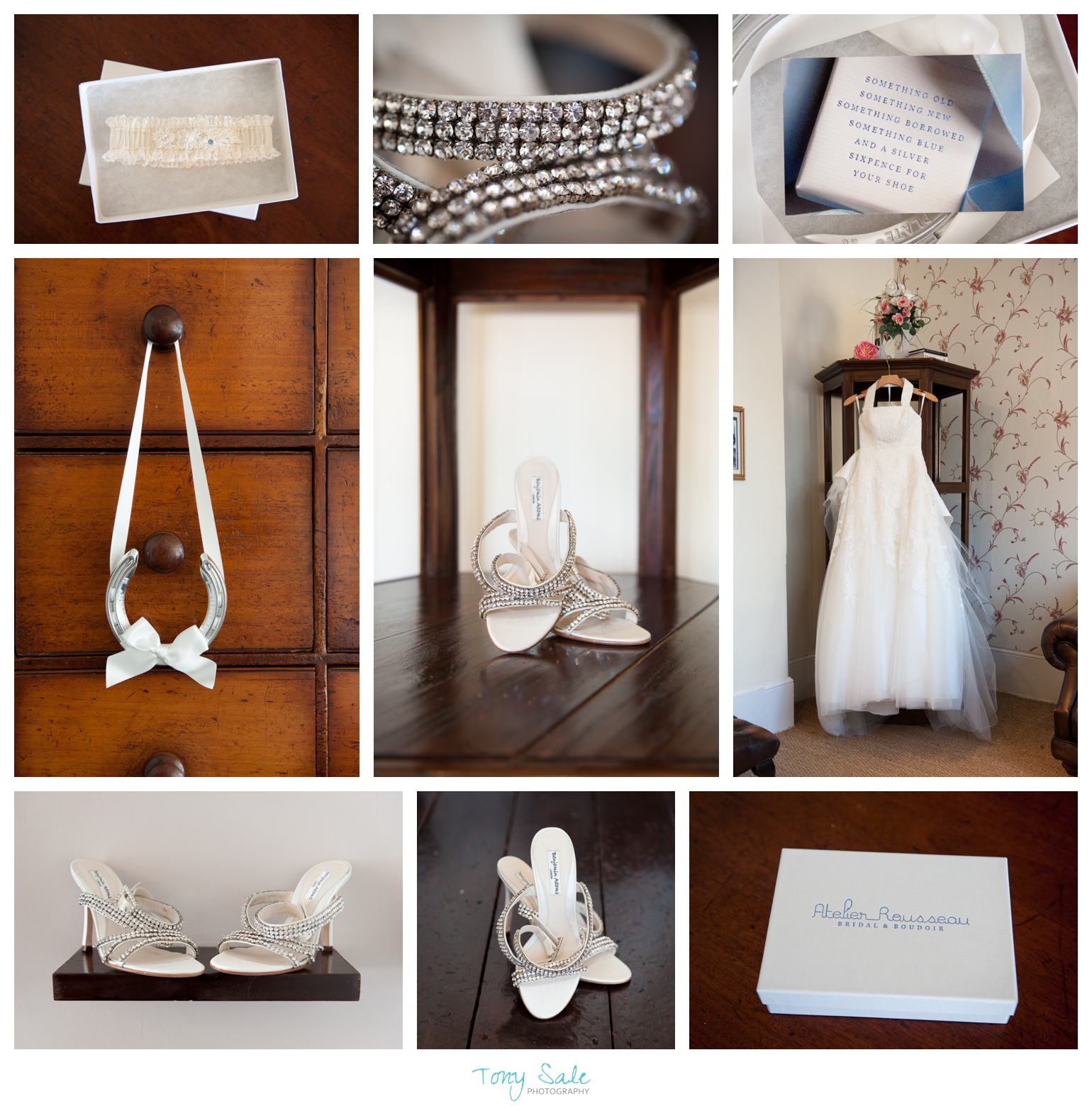 Bridal prep wedding dress and shoes.