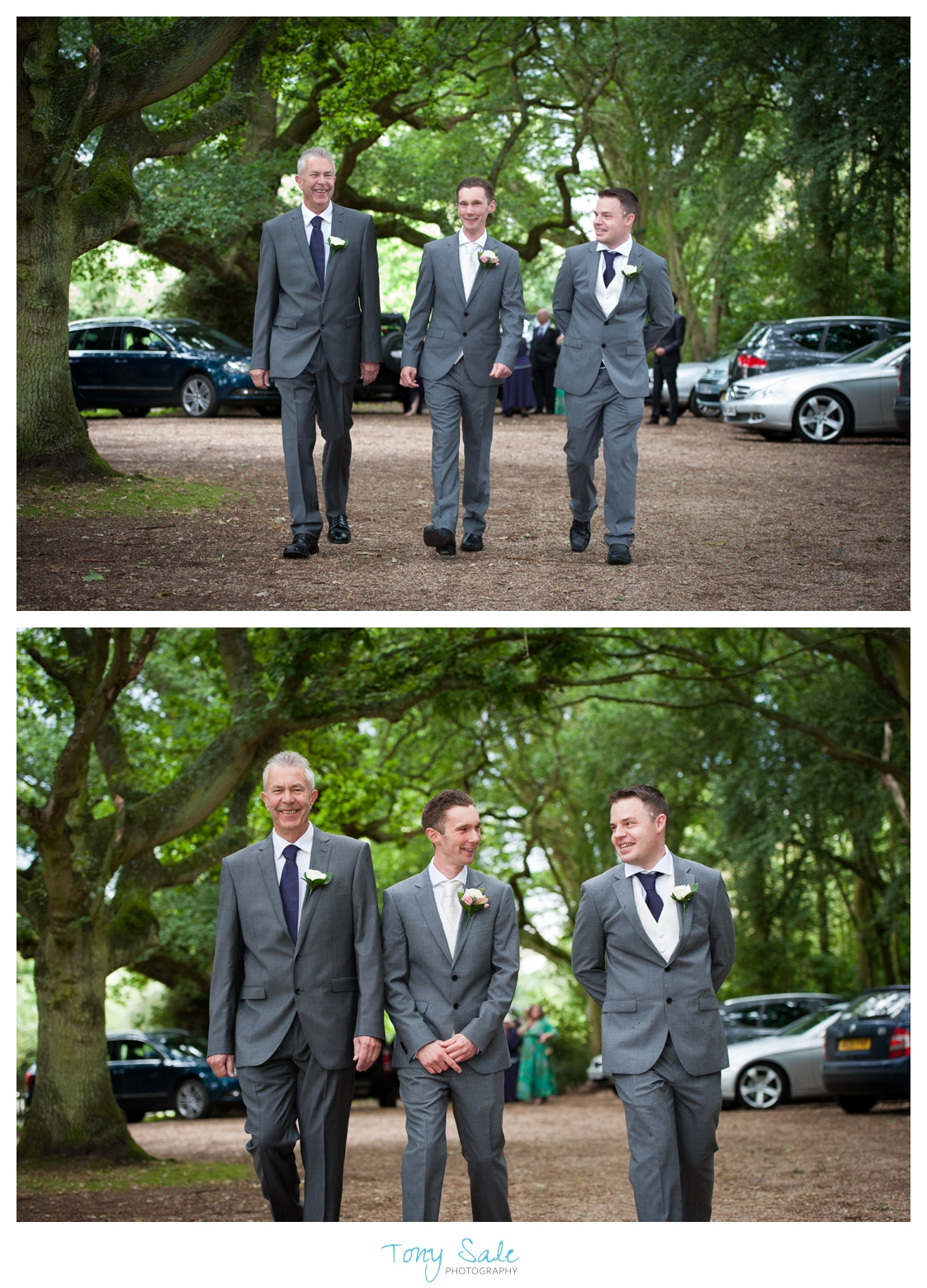 The groom with his best man and father at St Michael & All Angels Church