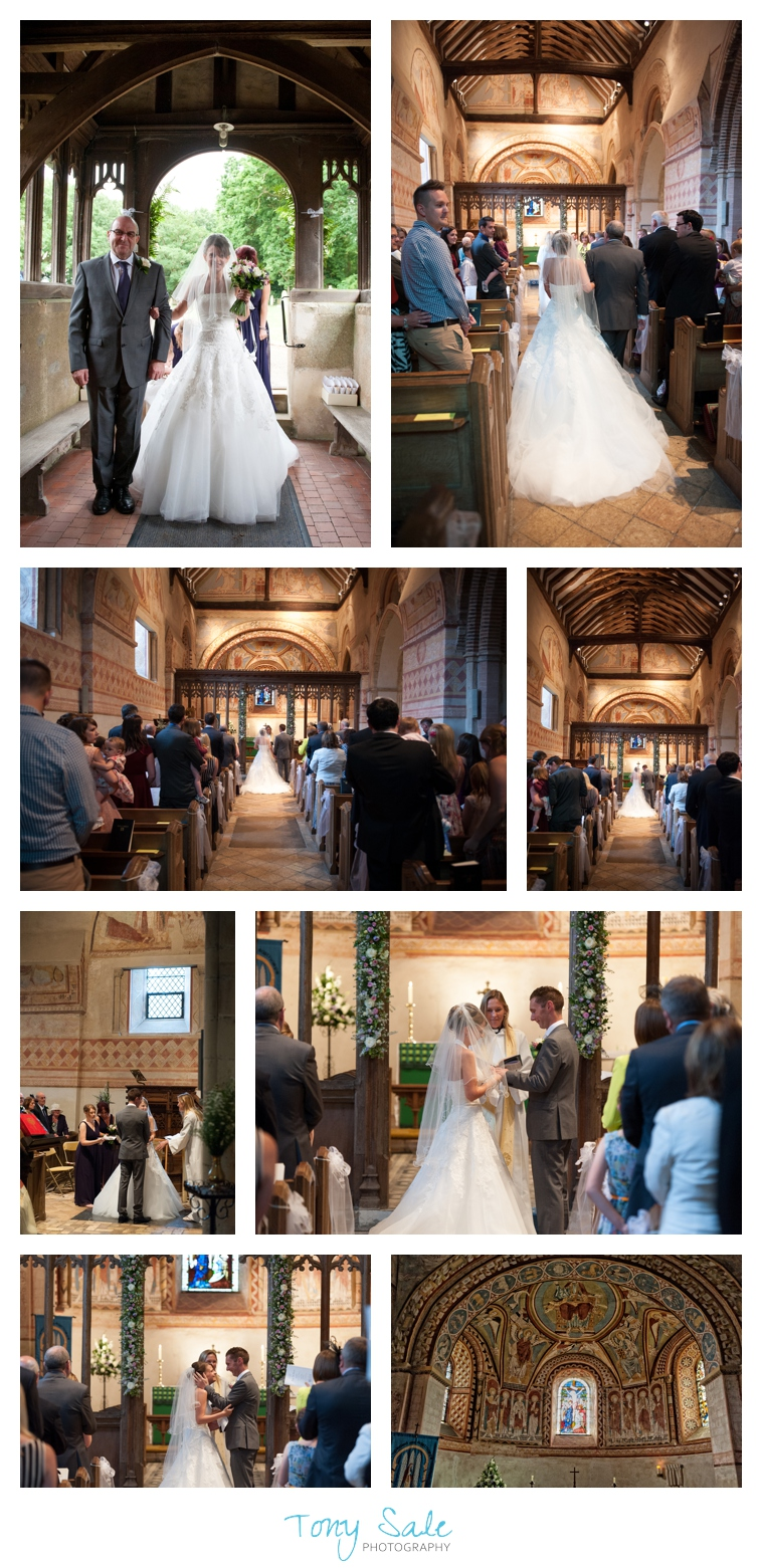 A father leads his daughter up the aisle at St Michael & All Angels Church Copford.