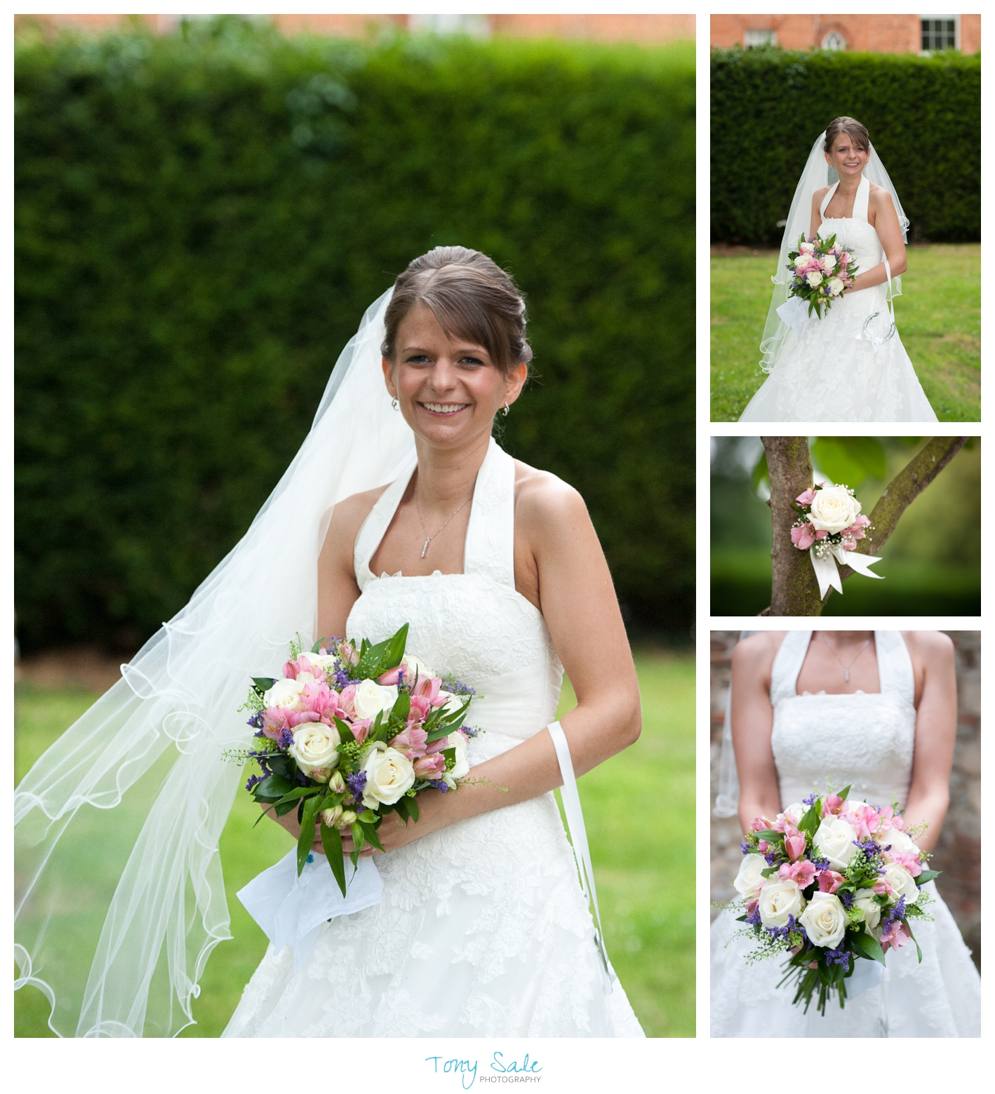 Beautiful bride Nikki outside St Michael & All Angels Church