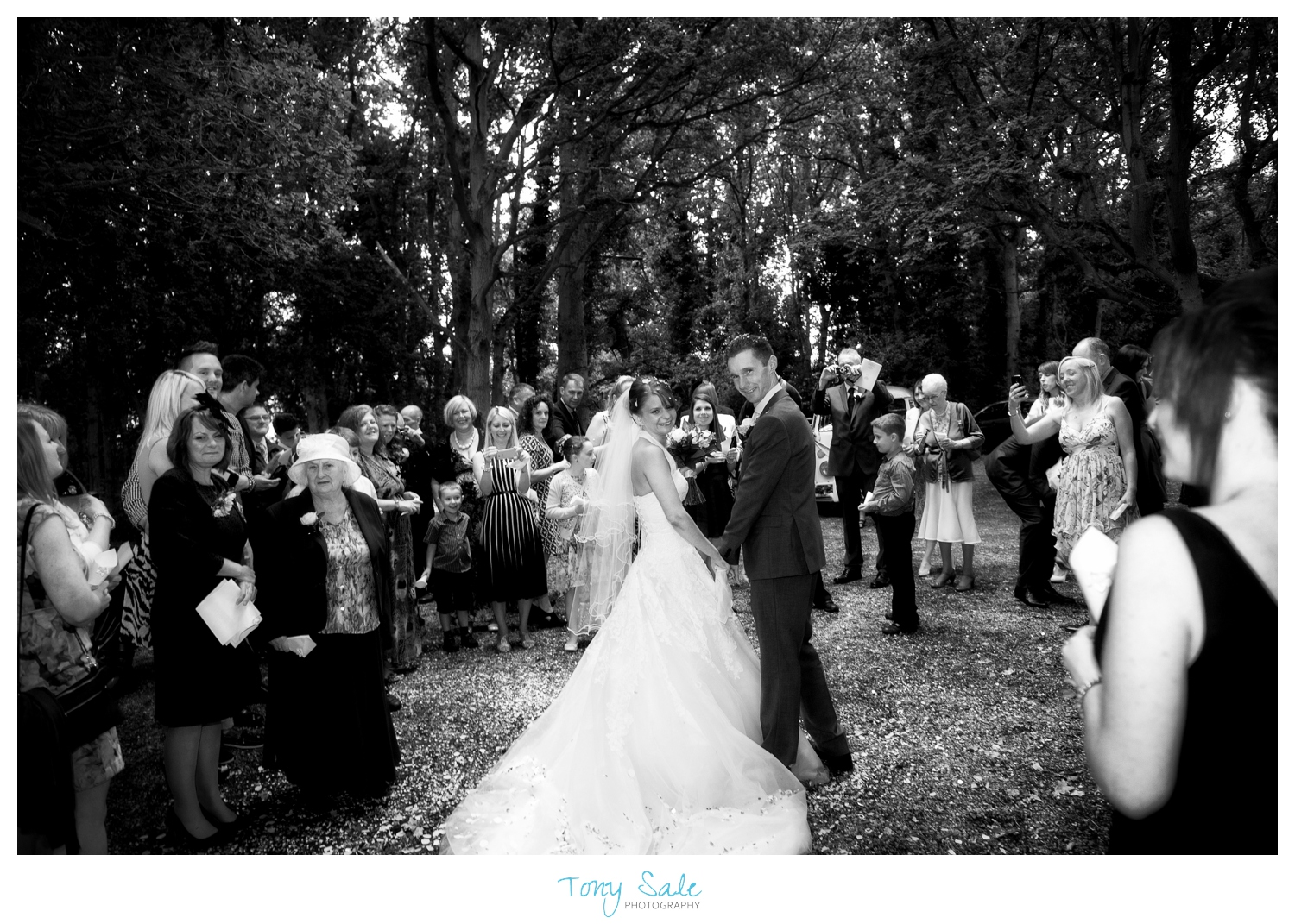 Beautiful black & white image of the bride and groom