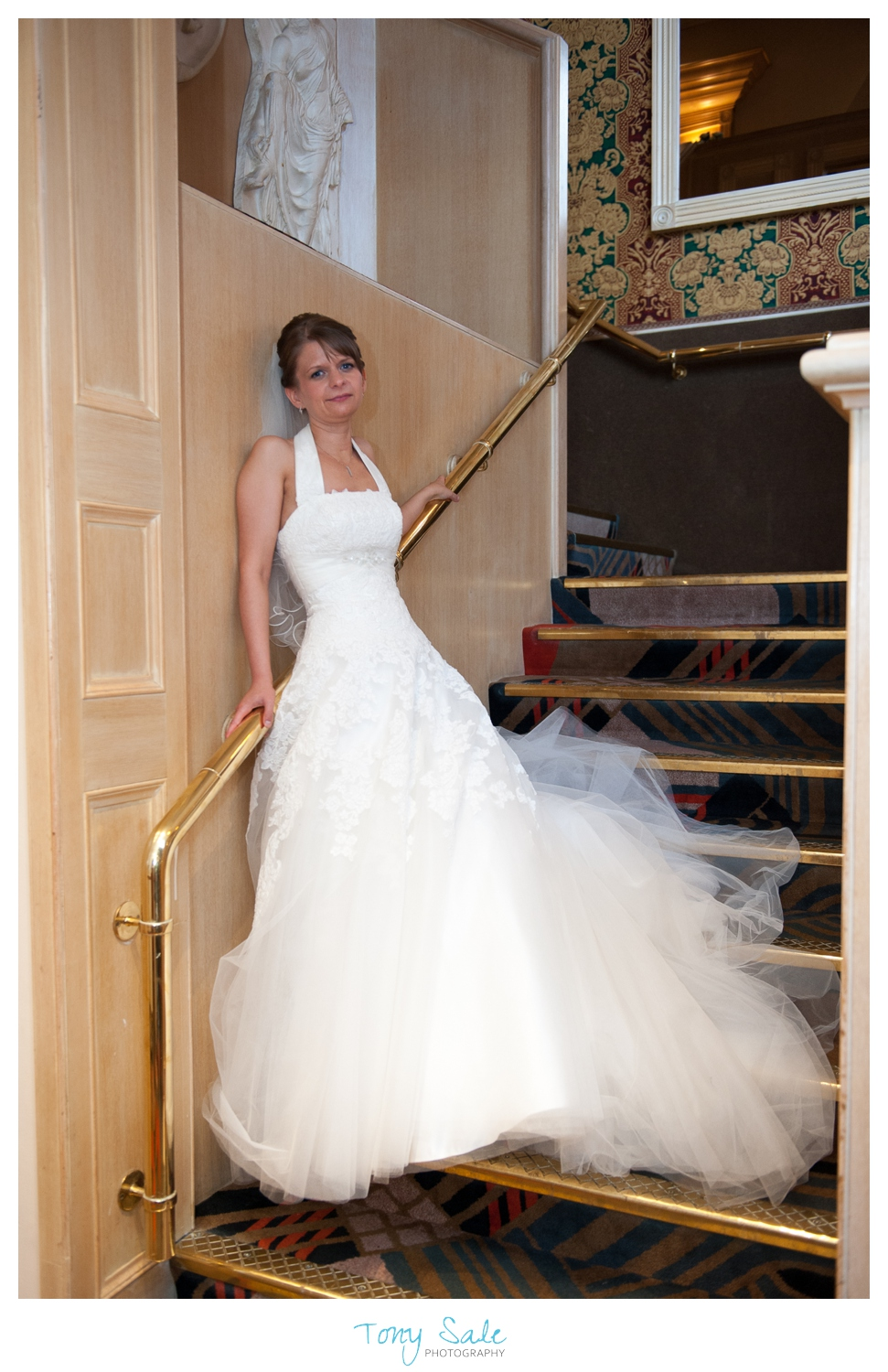 Beautiful image of the bride on the stairs