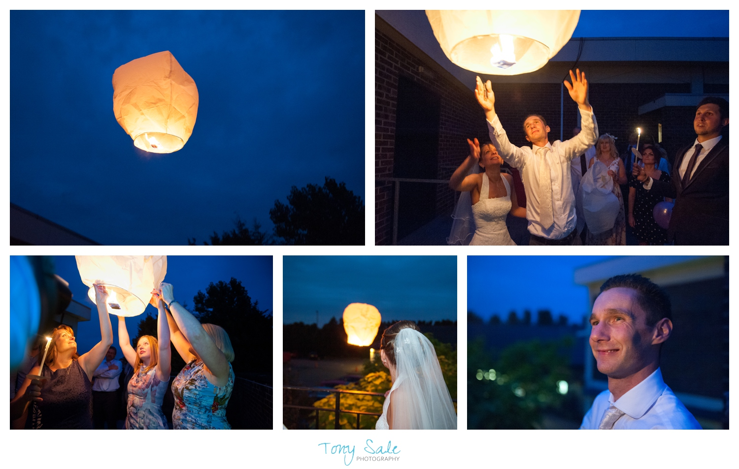 Bride and groom release Chinese Lanterns