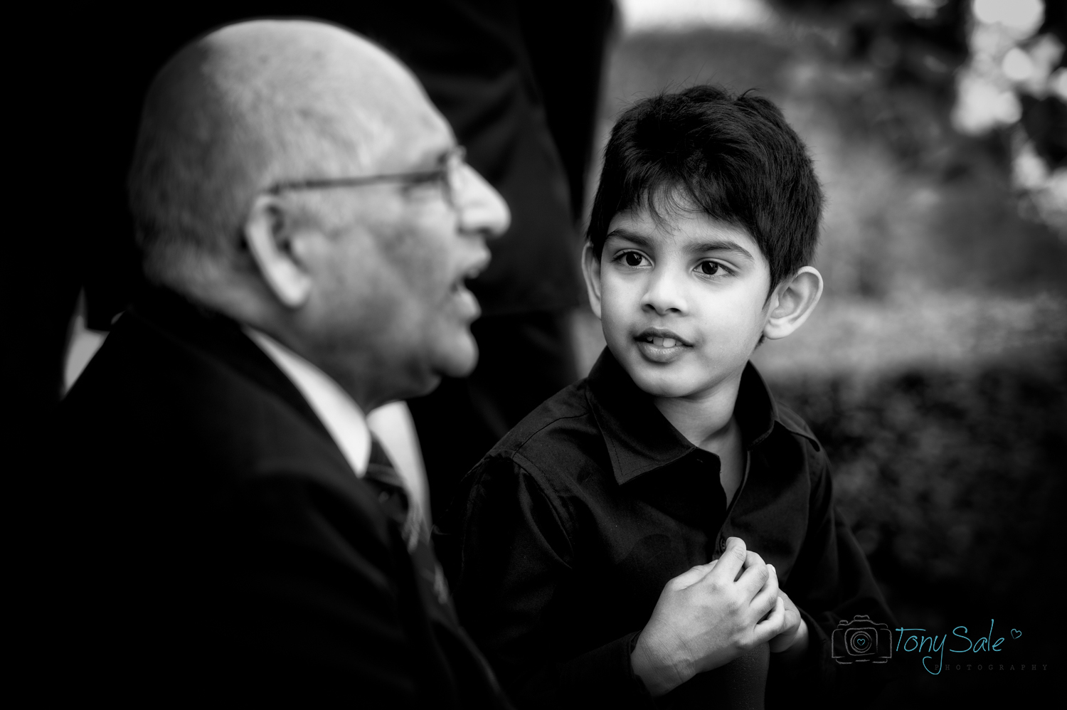 interaction between a boy and his grandfather