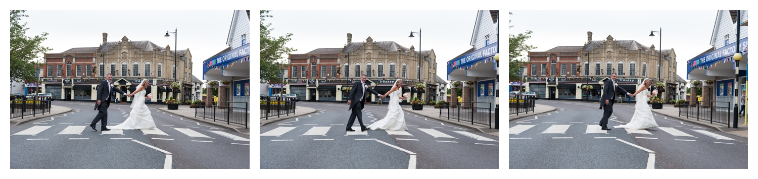 Bride and groom on the zebra crossing by Scenarios