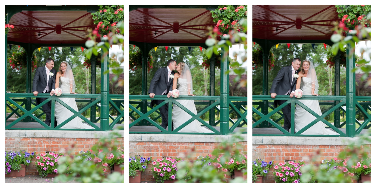 Bride and groom on the bandstand