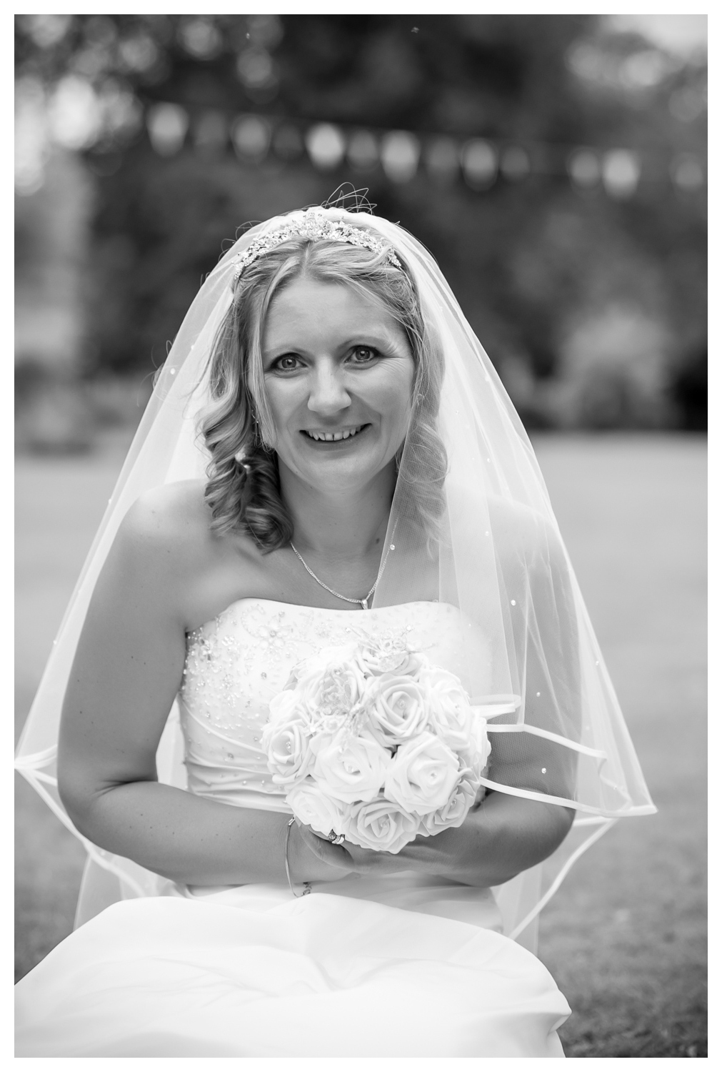 black & white portrait of the bride